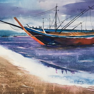 Seascape 6 by Vernika, Impressionism Painting, Watercolor on Paper, Blue color