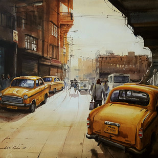 The yellow taxies, kolkata by Ranabir Saha, Impressionism Painting, Acrylic on Canvas, Brown color