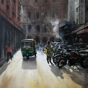 City scape backs treet by Ranabir Saha, Impressionism Painting, Acrylic on Canvas, Gray color