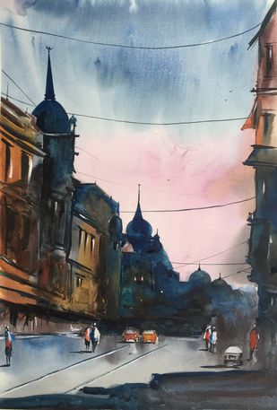 Cityscape 3 by Vernika, Impressionism Painting, Watercolor on Paper, Gray color