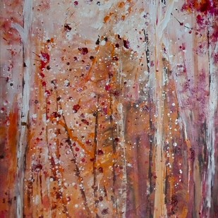 Forest in bloom by Broti Ganguly, Abstract Painting, Acrylic on Canvas, Brown color
