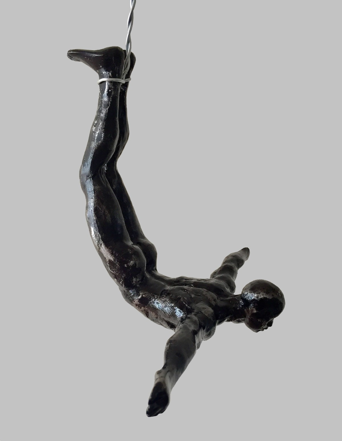 The Diver (set of 2) by Vernika, Art Deco Sculpture | 3D, Metal, Gray color