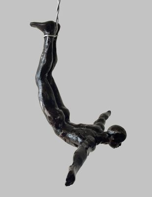 The Diver (set of 2) by Vernika, Art Deco Sculpture | 3D, Metal, Gray color