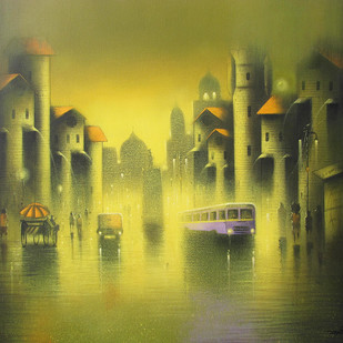 Golden Night by Somnath Bothe, Impressionism Painting, Acrylic on Canvas, Green color