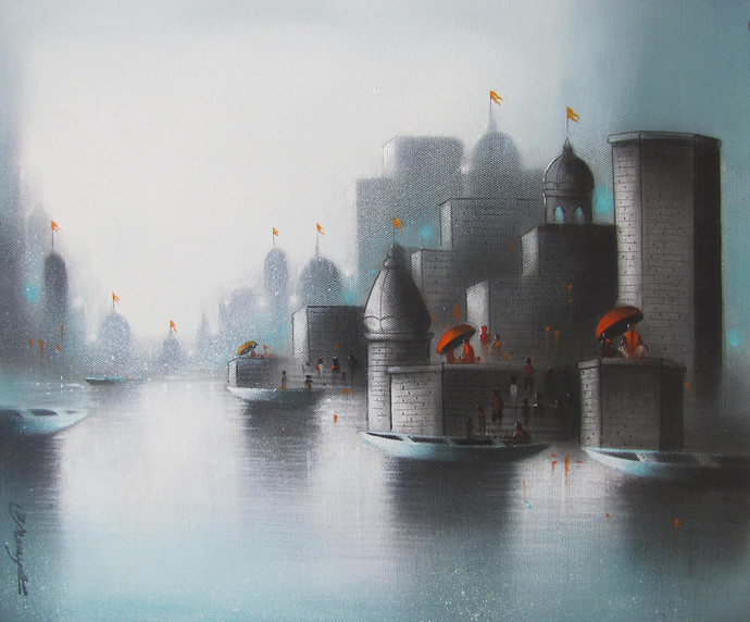 Holy Banaras by Somnath Bothe, Impressionism Painting, Charcoal on Canvas, Gray color