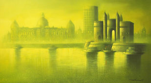 Gateway of India Mumbai by Somnath Bothe, Impressionism Painting, Acrylic on Canvas, Beige color