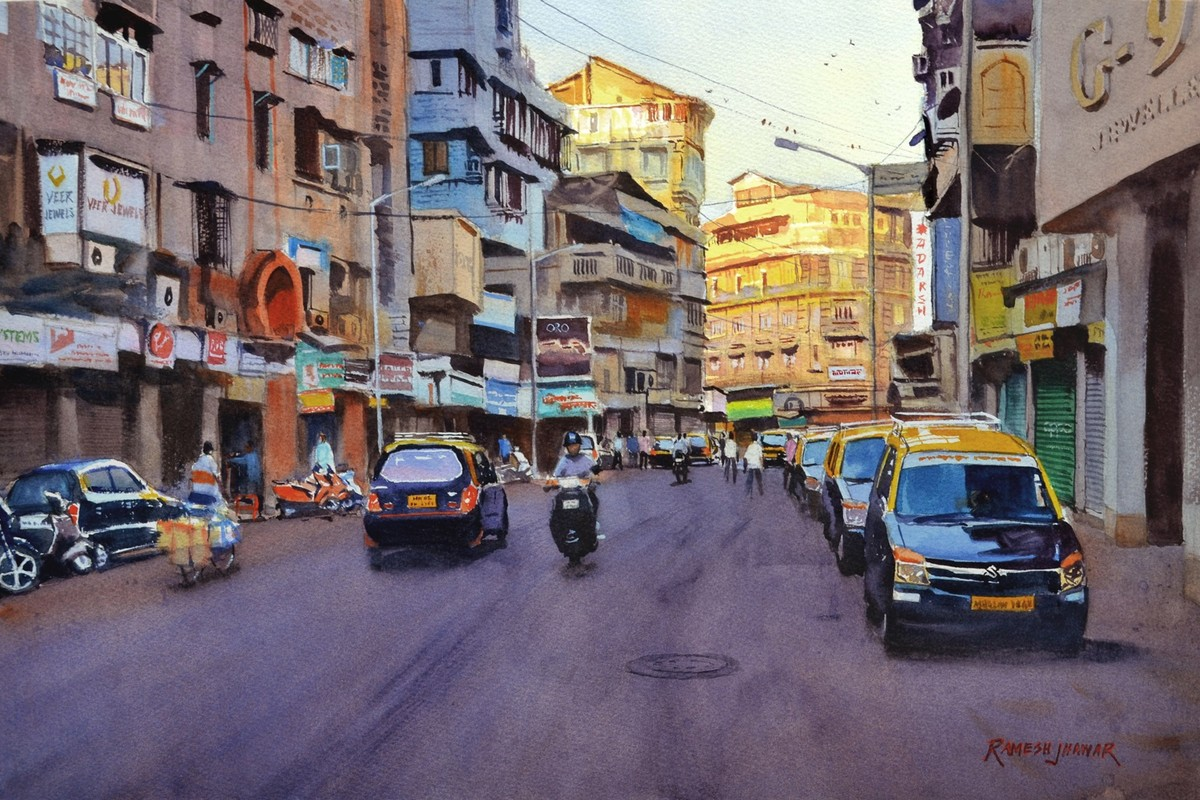A new day, Mumbai by Ramesh Jhawar, Impressionism Painting, Watercolor on Paper, Brown color