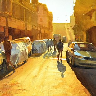 Golden haze by Ramesh Jhawar, Impressionism Painting, Watercolor on Paper, Brown color