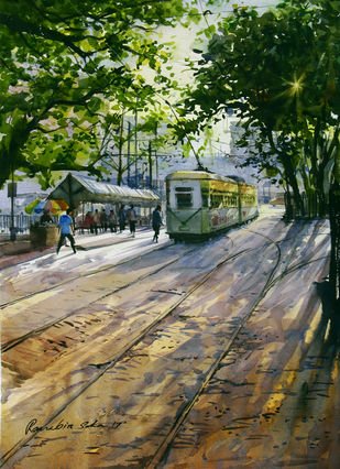 Morning Tram by Ranabir Saha, Impressionism Painting, Watercolor on Paper, Green color