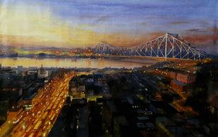 Howrah Bridge 1 by Ranabir Saha, Impressionism Painting, Acrylic on Canvas, Brown color