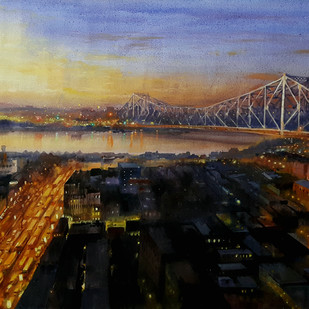 Howrah Bridge 1 by Ranabir Saha, Impressionism Painting, Acrylic on Canvas, Brown color