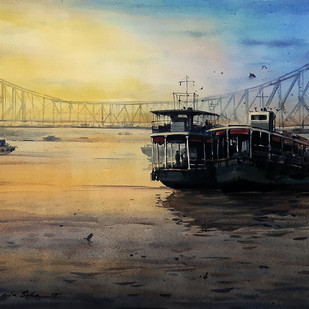Howrah Bridge 2 by Ranabir Saha, Impressionism Painting, Acrylic on Canvas, Beige color