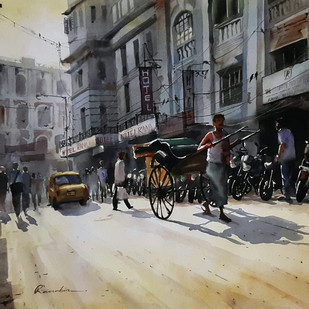 Kolkata Rikshaw by Ranabir Saha, Impressionism Painting, Acrylic on Canvas, Gray color
