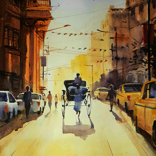Kolkata Rikshaw 2 by Ranabir Saha, Impressionism Painting, Acrylic on Board, Beige color