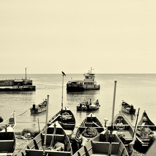Boats at Harbour # 3 by M. Shafiq, Image Photography, Digital Print on Paper, Yellow color