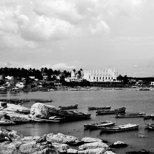 Boats at Harbour # 4 by M. Shafiq, Image Photography, Digital Print on Paper, Gray color