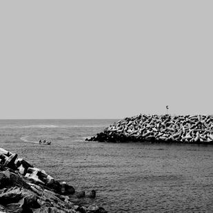 Enter the Harbour by M. Shafiq, Image Photography, Digital Print on Archival Paper, Grey color