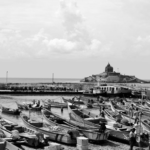 The Cape and Boats by M. Shafiq, Image Photography, Digital Print on Archival Paper, Gray color