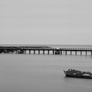 Arabian Sea Bridge by M. Shafiq, Image Photography, Digital Print on Archival Paper, Gray color