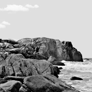 Boulder Beach by M. Shafiq, Image Photography, Digital Print on Archival Paper, Gray color