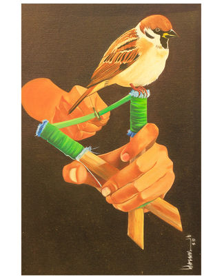 Mocking Sparrow by Rahuldev Seram, Expressionism Painting, Oil on Canvas Board, Brown color