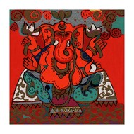 Manomay by Ravindra Salve, Expressionism Serigraph, Serigraph on Paper, Brown color