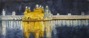 Golden Temple by Parag Karve, Impressionism Painting, Watercolor on Paper, Blue color