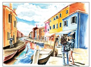 Burano, Venice by Parag Karve, Impressionism Painting, Watercolor on Paper, Beige color
