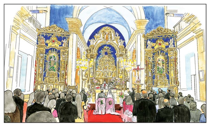 St. Alex Church, Goa by Parag Karve, Impressionism Painting, Watercolor on Paper, Beige color