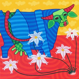 Untitled by Thota Laxminarayana, Decorative Painting, Acrylic on Canvas, Blue color