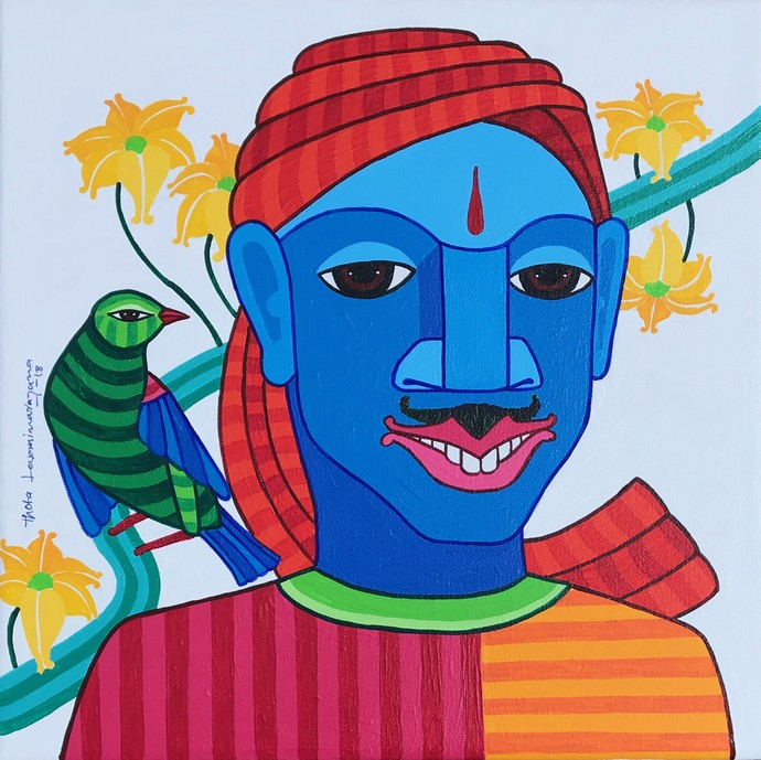 Untitled by Thota Laxminarayana, Expressionism Painting, Acrylic on Canvas, Blue color
