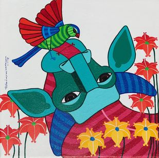 Untitled by Thota Laxminarayana, Decorative Painting, Acrylic on Canvas, Cyan color