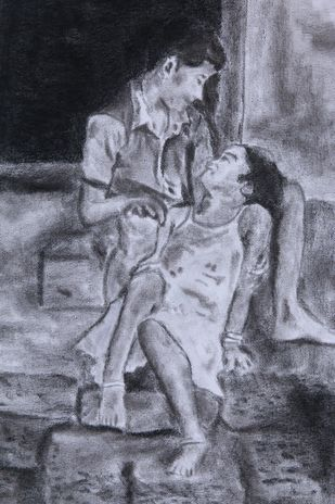 BROTHERHOOD by Reshma M, Illustration Drawing, Charcoal on Canvas, Brown color