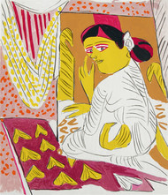 Untitled by K. G. Subramanyan , Expressionism Printmaking, Serigraph on Paper, Beige color