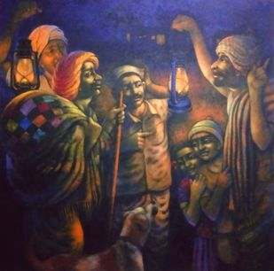 Blue Night by Apet Pramod Mahadev, Expressionism Painting, Acrylic on Canvas, Brown color