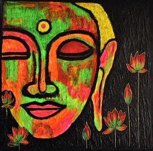 Buddha by Priyanka Hakani, Expressionism Painting, Acrylic on Board, Brown color