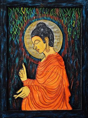 Buddha 3D by Priyanka Hakani, Expressionism Painting, Mixed Media on Board, Blue color