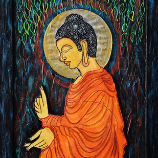 Buddha 3D by Priyanka Hakani, Expressionism Painting, Mixed Media on Board, Blue color