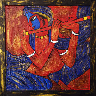 Krishna with Flute by Priyanka Hakani, Expressionism Painting, Acrylic on Board, Brown color