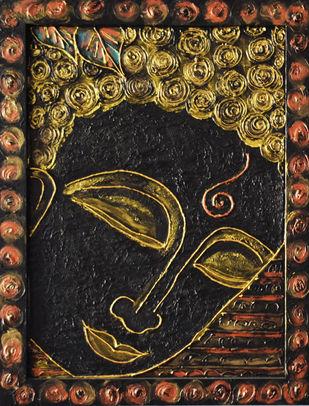 Lord Buddha by Priyanka Hakani, Expressionism Painting, Acrylic on Board, Brown color