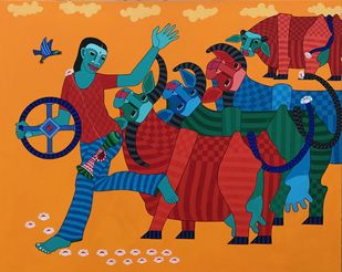 Untitled by Thota Laxminarayana, Expressionism Painting, Acrylic on Canvas, Brown color
