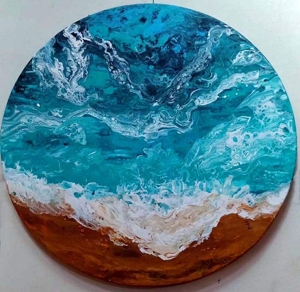 THE 0CEAN by kakali sanyal, Abstract Painting, Acrylic on Canvas, Cyan color