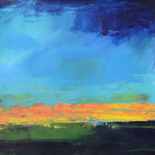 Sounds of Sunset by Mitisha, Abstract Painting, Acrylic on Board, Cyan color