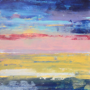 Sounds of horizon by Mitisha, Abstract Painting, Acrylic on Canvas, Beige color