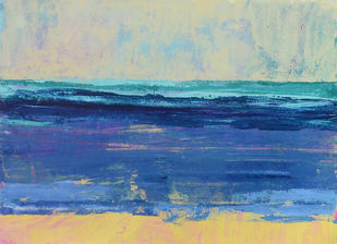 A sea scape by Mitisha, Abstract Painting, Acrylic on Canvas, Blue color