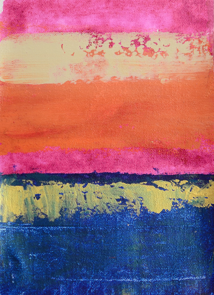 A Golden Horizon -1 by Mitisha, Abstract Painting, Acrylic on Canvas, Blue color