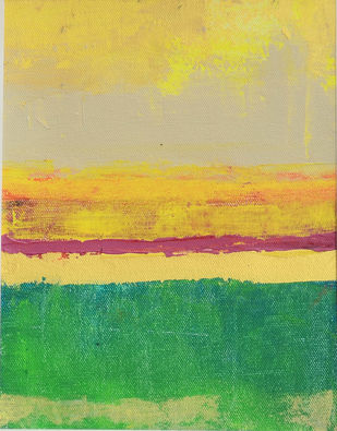 A Golden Horizon -II by Mitisha, Abstract Painting, Acrylic on Canvas, Beige color