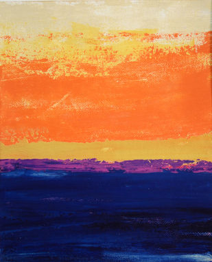 A Golden Horizon - III by Mitisha, Abstract Painting, Acrylic on Canvas, Blue color