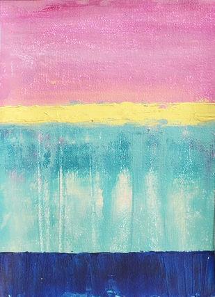 Golden Horizon-IV by Mitisha, Abstract Painting, Acrylic on Canvas, Cyan color