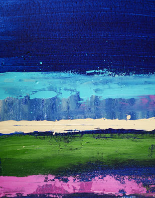 Untitled by Mitisha, Abstract Painting, Acrylic on Canvas, Blue color